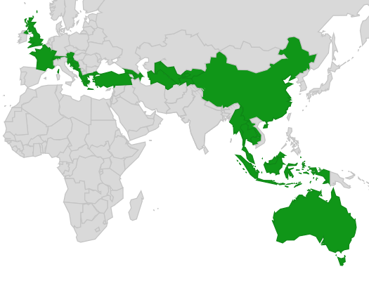 Map of countries on the London2Sydney route